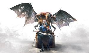 Fotos The Witcher 3: Wild Hunt Geralt von Rivia Dämonen Flügel Schwert Sitzend Thron Fantasy