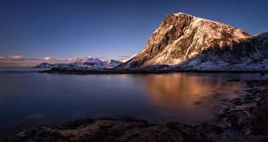 Fotos Lofoten Norwegen Landschaftsfotografie Gebirge Flusse Schnee Natur