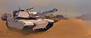 Photo Tank Painting Art M1 Abrams American M1A1