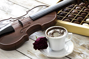 Picture Still-life Coffee Candy Violin Roses Boards Cup Saucer Food