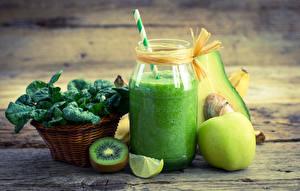 Image Drinks Kiwi Fruit Boards Wood planks Highball glass Jar Food