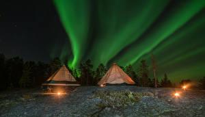Hintergrundbilder Lappland Landschaft Finnland Himmel Stern Nordlicht Nacht Zelt
