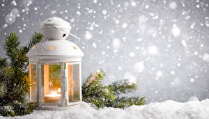 Pictures Winter Candles Lantern Branches Snow Nature