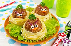 Fonds d'écran Smilies Produit carné Légume Design Macaroni Assiette aliments