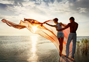 Pictures Sunrise and sunset Men River Couples in love Lake Two Human back female