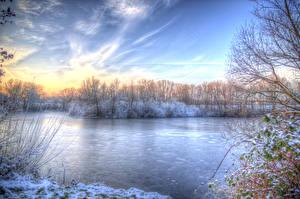 Hintergrundbilder Jahreszeiten Winter Flusse Himmel HDRI Natur