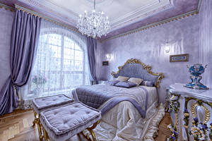 Photo Interior Design Bedroom Bed Chandelier Curtains