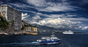 Images Monaco Building Sea Sky Ship Coast Monte Carlo Clouds Museums Oceanographic Cities