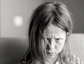 Wallpaper Little girls Face Black and white Hair Dissatisfied child