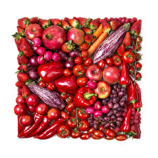 Pictures Fruit Vegetables Pomegranate Tomatoes Bell pepper Strawberry Apples Onion Grapes Radishes White background Red Food