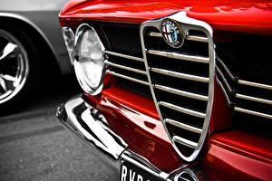 Fotos Großansicht Alfa Romeo Logo Emblem Fahrzeugscheinwerfer Rot Autos