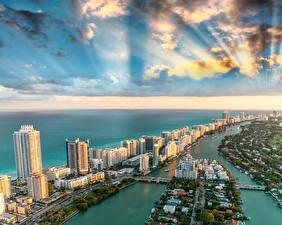 Fotos USA Gebäude Ozean Himmel Küste Miami Florida Wolke Von oben Städte