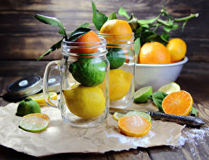 Wallpapers Citrus Mandarine Lemons Orange fruit Lime Mug Boards Jar Food