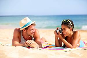 Wallpapers Men Beach Sand Hat Glasses Two Camera Photographer Girls