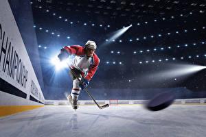 Фотография Хоккей Мужчины Льда Униформе Шлем Лучи света Катке