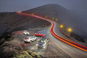 Pictures Mazda Roads Night time Street lights Motion Fog 2016 CX-9 Cars