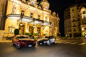 Images Maserati Building Luxury Two Metallic Street lights Street Night 2016 Ghibli S Q4 automobile Cities