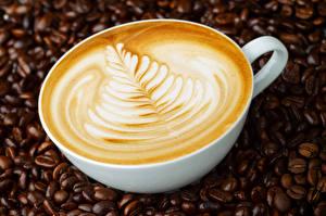 Fotos Kaffee Großansicht Cappuccino Tasse Getreide Lebensmittel