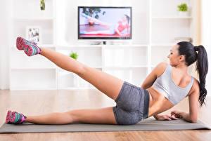Wallpaper Fitness Legs Sneakers Brunette girl Shorts Ass buttocks Girls Sport
