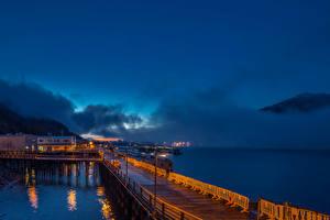 Bilder Alaska Gebäude Schiffsanleger Himmel Küste Nacht Bucht Juneau Städte