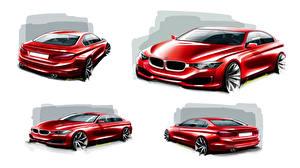 Bilder BMW Rot Limousine Sedan 3-Series F30 Autos