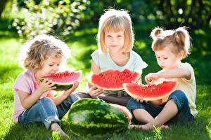 Bilder Beere Wassermelonen Kleine Mädchen Drei 3 Sitzend Gras Stücke Kinder