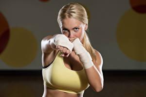 Wallpapers Boxing Blonde girl Hands female Sport