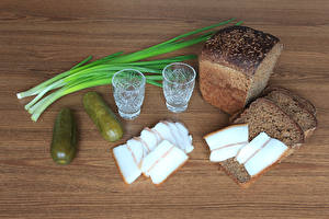 Picture Bread Cucumbers Vodka Salo - Food Shot glass Food