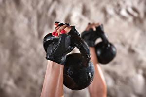Pictures Closeup Dumbbells Hands Glove Sport