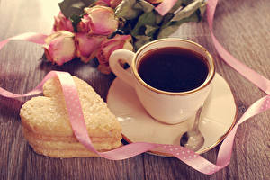Photo Coffee Cookies Roses Cup Heart Ribbon Saucer Spoon Food