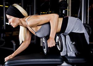 Fotos Fitness Hantel Hand Trainieren Mädchens