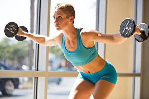 Image Fitness Uniform Dumbbells Hands Sport Girls