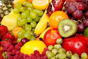 Fotos Obst Beere Weintraube Himbeeren Kiwi Stachelbeere das Essen