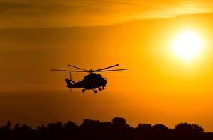 Hintergrundbilder Hubschrauber Silhouette Russisches Mil Mi-24