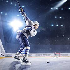 Фотографии Хоккей Мужчины Униформа В шлеме Лучи света Каток Спорт