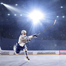 Картинка Хоккей Мужчины Униформа Лучи света Каток