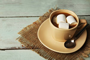 Image Cocoa Marshmallow Cup Saucer Spoon