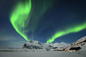 Hintergrundbilder Island Winter Himmel Gebirge Aurora borealis Schnee Natur