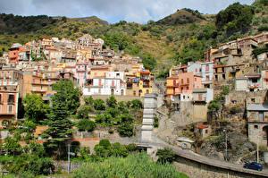 Sfondi desktop Italia Sicilia Edificio Montagne Città