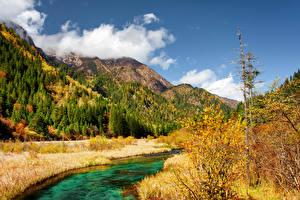 Pictures Jiuzhaigou park China Park Autumn Mountain River Landscape photography Nature