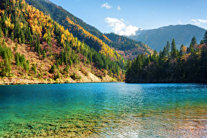 Sfondi desktop Valle del Jiuzhaigou Cina Parco Lago Autunno Montagne Foresta Paesaggio Natura