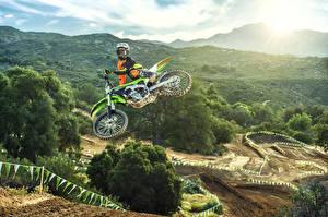 Images Kawasaki Motorcyclist Jump Helmet 2016 KX250F Motorcycles Nature