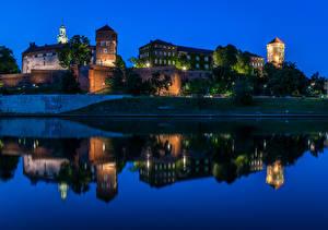 Images Krakow Poland Castles Rivers Night Wawel Castle Cities
