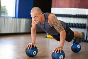 Wallpapers Man Push-up Ball Hands Tattoos Sport