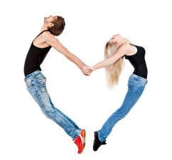 Pictures Man White background Blonde girl Two Heart Jeans Singlet Hands Girls