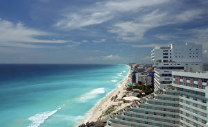 Wallpaper Mexico Building Waves Sky Coast Sea Horizon Cancun Cities