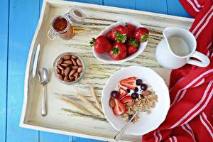 Image Muesli Strawberry Nuts Milk Breakfast Jug container Spoon Tray Food
