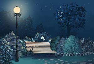 壁纸、、公園、街灯、ベンチ、夜、自然