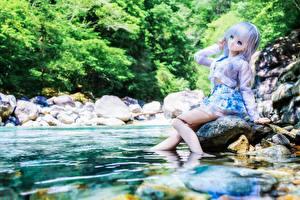 Hintergrundbilder Flusse Wasser Steine Puppe Kleine Mädchen Sitzen Natur