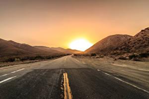 Fotos Straße Sonnenaufgänge und Sonnenuntergänge Sonne Asphalt Natur